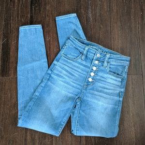 American eagle hi-rise jegging button fly jeans 0